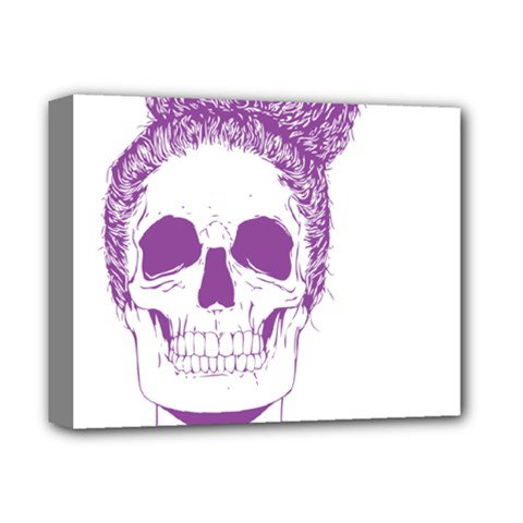 Purple Skull Bun Up Deluxe Canvas 14  X 11  (framed) by vividaudacity