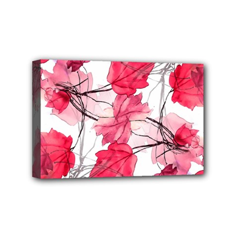 Floral Print Swirls Decorative Design Mini Canvas 6  X 4  (framed) by dflcprints