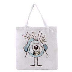 Cute Weird Caricature Illustration Grocery Tote Bag by dflcprints