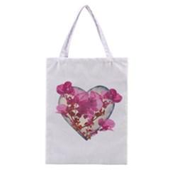 Heart Shaped With Flowers Digital Collage Classic Tote Bag by dflcprints