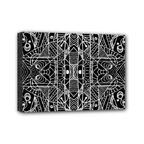 Black And White Tribal Geometric Pattern Print Mini Canvas 7  X 5  (framed) by dflcprints