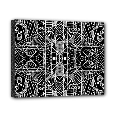 Black And White Tribal Geometric Pattern Print Canvas 10  X 8  (framed) by dflcprints