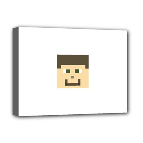 Custom Block Head Deluxe Canvas 16  X 12  (framed)  by BlockCrafts