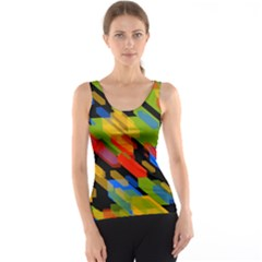 Colorful Shapes On A Black Background Tank Top by LalyLauraFLM