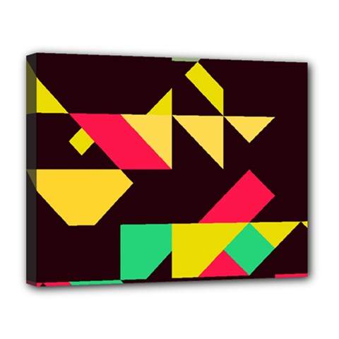 Shapes In Retro Colors 2 Canvas 14  X 11  (stretched) by LalyLauraFLM