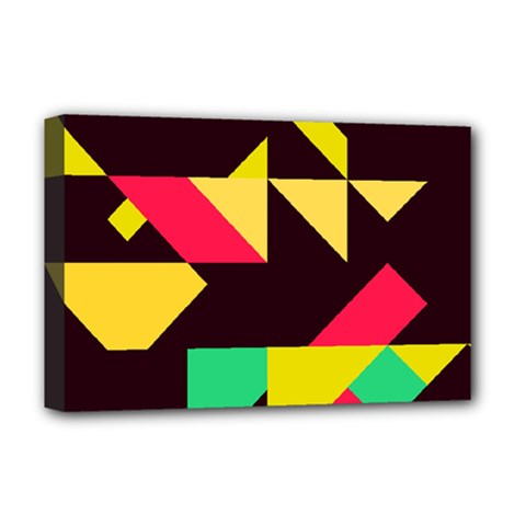 Shapes In Retro Colors 2 Deluxe Canvas 18  X 12  (stretched) by LalyLauraFLM