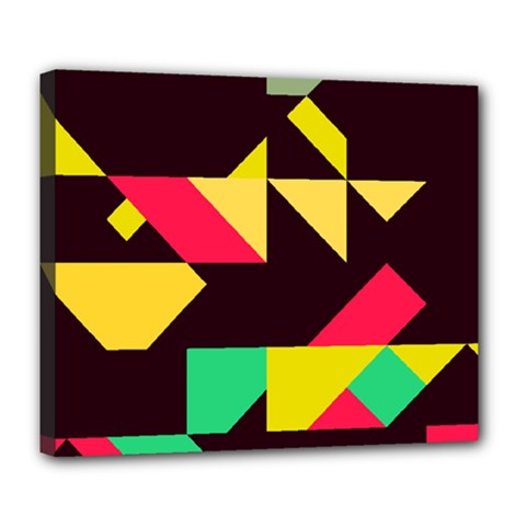 Shapes In Retro Colors 2 Deluxe Canvas 24  X 20  (stretched) by LalyLauraFLM