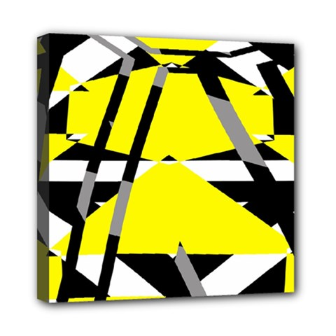 Yellow, Black And White Pieces Abstract Design Mini Canvas 8  X 8  (stretched) by LalyLauraFLM
