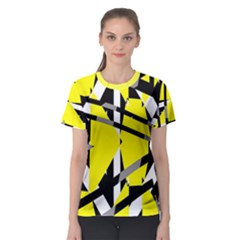 Yellow, Black And White Pieces Abstract Design Women s Sport Mesh Tee by LalyLauraFLM