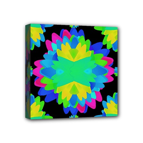 Multicolored Floral Print Geometric Modern Pattern Mini Canvas 4  X 4  (framed)