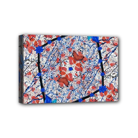 Floral Pattern Digital Collage Mini Canvas 6  X 4  (framed) by dflcprints