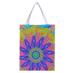 Neon Flower Purple Hot Pink Orange Classic Tote Bag by CrypticFragmentsColors