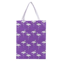 Flamingo White On Lavender Pattern Classic Tote Bag by CrypticFragmentsColors