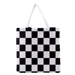 Checkered Flag Race Winner Mosaic Tile Pattern Grocery Tote Bag by CrypticFragmentsColors
