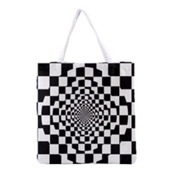 Checkered Flag Race Winner Mosaic Tile Pattern Repeat Grocery Tote Bag by CrypticFragmentsColors