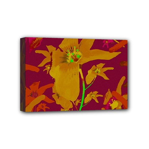 Tropical Hawaiian Style Lilies Collage Mini Canvas 6  X 4  (framed) by dflcprints