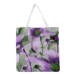 Lilies Collage Art In Green And Violet Colors Grocery Tote Bag by dflcprints