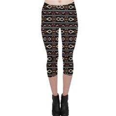 Tribal Dark Geometric Pattern03 Capri Leggings  by dflcprintsclothing