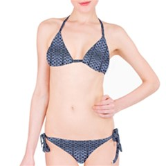 Futuristic Grid Pattern Design Print In Blue Tones Bikini by dflcprintsclothing