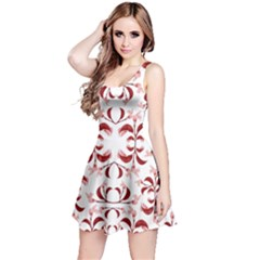 Floral Print Modern Pattern In Red And White Tones Sleeveless Dress