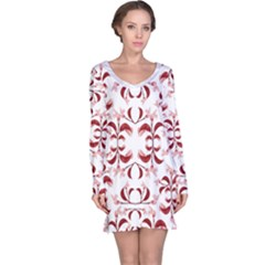 Floral Print Modern Pattern In Red And White Tones Long Sleeve Nightdress by dflcprintsclothing