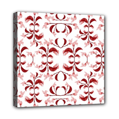Floral Print Modern Pattern In Red And White Tones Mini Canvas 8  X 8  (framed) by dflcprints