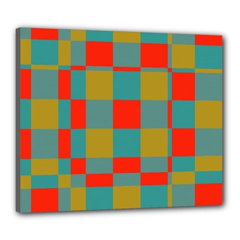 Squares In Retro Colors Canvas 24  X 20  (stretched) by LalyLauraFLM