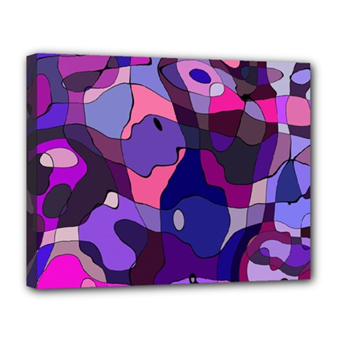 Blue Purple Chaos Canvas 14  X 11  (stretched) by LalyLauraFLM