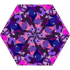 Blue Purple Chaos Mini Folding Umbrella by LalyLauraFLM