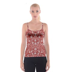 Flowers Pattern Collage In Coral An White Colors Spaghetti Strap Top