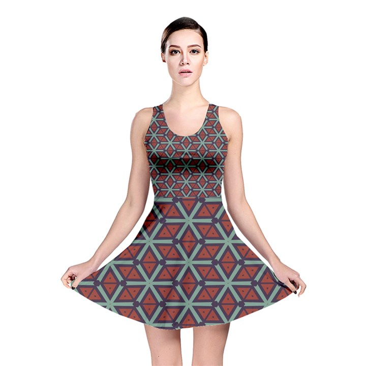Cubes pattern abstract design Reversible Skater Dress
