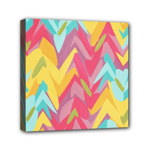 Paint Strokes Abstract Design Mini Canvas 6  X 6  (stretched) by LalyLauraFLM