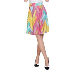 Paint Strokes Abstract Design A-line Skirt by LalyLauraFLM