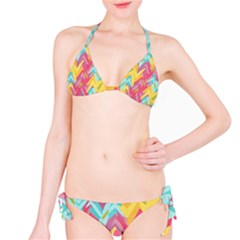 Paint Strokes Abstract Design Bikini Set by LalyLauraFLM