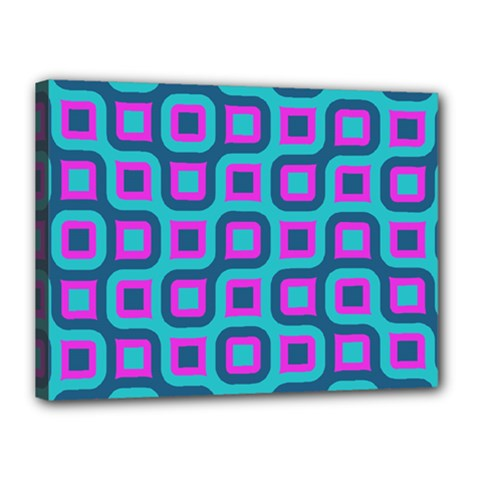 Blue Purple Squares Pattern Canvas 16  X 12  (stretched) by LalyLauraFLM