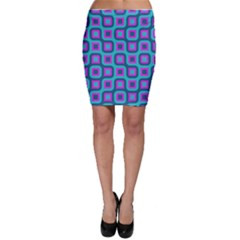 Blue Purple Squares Pattern Bodycon Skirt