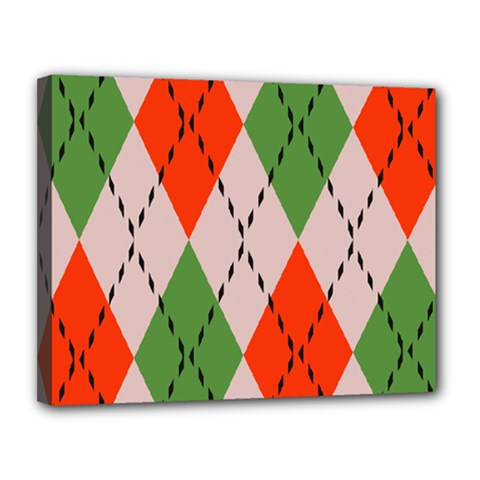 Argyle Pattern Abstract Design Canvas 14  X 11  (stretched) by LalyLauraFLM