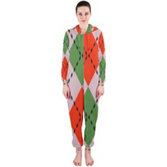 Argyle Pattern Abstract Design Hooded Onepiece Jumpsuit by LalyLauraFLM