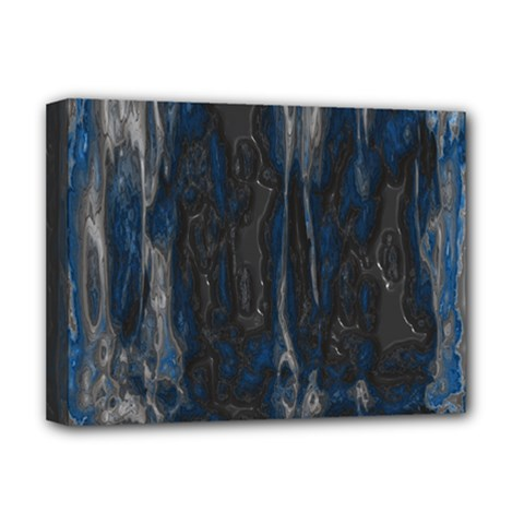 Blue Black Texture Deluxe Canvas 16  X 12  (stretched)  by LalyLauraFLM