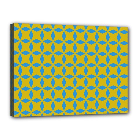 Blue Diamonds Pattern Canvas 16  X 12  (stretched) by LalyLauraFLM