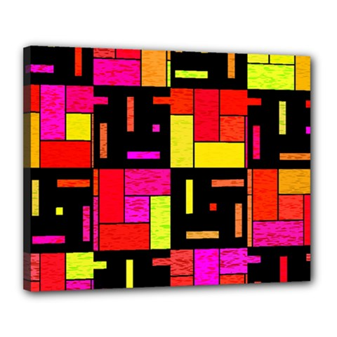 Squares And Rectangles Canvas 20  X 16  (stretched) by LalyLauraFLM