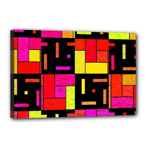 Squares And Rectangles Canvas 18  X 12  (stretched) by LalyLauraFLM