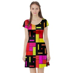 Squares And Rectangles Short Sleeved Skater Dress by LalyLauraFLM