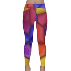 3d Colorful Shapes Yoga Leggings by LalyLauraFLM