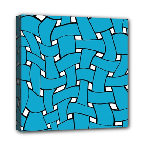 Blue Distorted Weave Mini Canvas 8  X 8  (stretched) by LalyLauraFLM