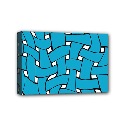 Blue Distorted Weave Mini Canvas 6  X 4  (stretched) by LalyLauraFLM