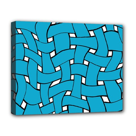Blue Distorted Weave Deluxe Canvas 20  X 16  (stretched) by LalyLauraFLM