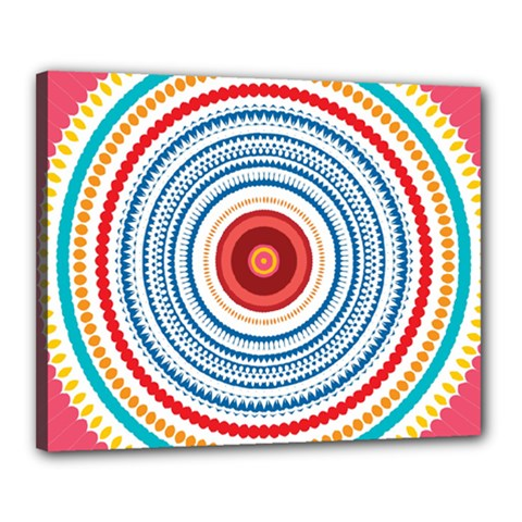 Colorful Round Kaleidoscope Canvas 20  X 16  (stretched) by LalyLauraFLM