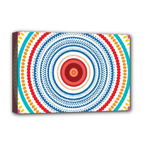 Colorful Round Kaleidoscope Deluxe Canvas 18  X 12  (stretched) by LalyLauraFLM