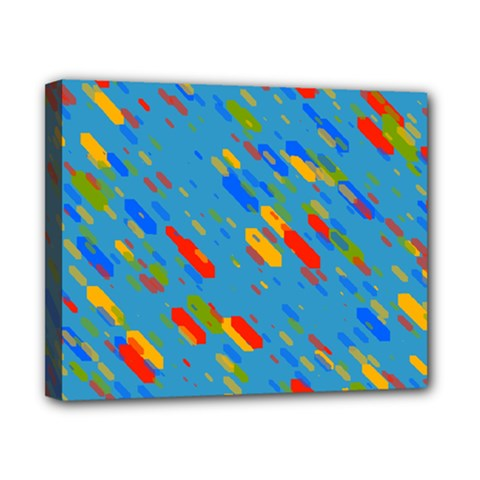Colorful Shapes On A Blue Background Canvas 10  X 8  (stretched) by LalyLauraFLM